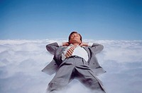Business & Profession, Concept, Executive, Men, Lying in clouds,