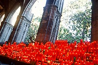 Lighted candles at Saint Rita Chapel in the Cathedral. Barcelona. Catalonia. Spain