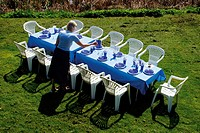 Preparing the dining table outside in the garden on the lawn for a meal with blue plates and glasses, and blue tablecloth. Denmark, Scandinavia