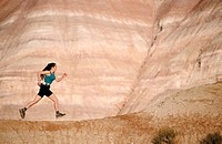 Trail running. 'The movie set'. Grand Staircase-Escalante National Monument. Utah. USA