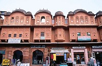 Storefronts in old city (Pink City). Jaipur. Rajasthan. India.