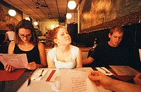Young people in restaurant