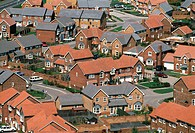 Housing estate. Aerial view of a modern housing estate in England.