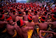 A gathering of men at a festival, Bali, Indonesia