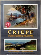 Caledonian Railway poster showing two views of a golf course and stream.