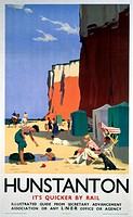London & North Eastern Railway (LNER) poster advertising rail services to the Norfolk resort of Hunstanton. Artwork by H G Gawthorn.