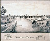 Pencil drawing, a copy of a lithograph of 1846 of Wharfedale (Arthington) Viaduct, made in c 1985. It shows the River Wharfe with the viaduct under co...