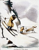 Vignette from a lithographic plate showing two men, one on skis, hunting wild reindeer in the snow. Taken from ´The Rein Deer´ in ´Graphic Illustratio...