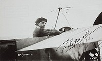 A signed photograph showing Tom Sopwith after winning the first ´Aerial Derby´ (round London race) in a 70 hp Blériot XI. Sir Thomas Octave Murdoch So...