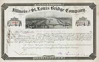 Engraved share certificate certifying the ownership of ten $100 shares in the company by a Mr Edmund Gardner of Belfast, Northern Ireland.