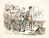Lithograph by Denis Dighton, showing a small-scale brick making operation. Between 1801 and 1911, the population of Britain trebled to 45 million. In ...