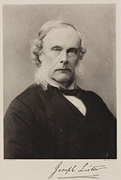 Photogravure by Walker & Boutall after a photograph by Barrauds Ltd. Surgeon Joseph Lister (1827-1912) first started to experiment in antiseptic surge...