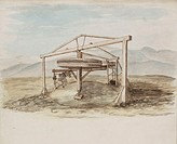 Watercolour, showing a horizontal wheel suspended from a wooden frame, labelled 'Whimsey'. One of a set of 66 watercolours and pen and ink sketches of...