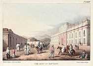 Lithograph by G Scharf after J Paroissien, showing a street scene in Santiago, the capital of Chile. Dandies in top hats stroll down the street, with ...
