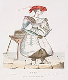 One of a series of drawings of people composed of objects which represent their trades, the woman, presumably a fishmonger, has a lobster for a hat, a...