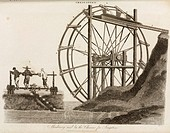 Engraving by J Pass showing Chinese men on a treadmill which turns a waterwheel to irrigate the land. The water is lifted in bamboo tubes. Artistic li...