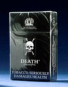 Cigarette packet labelled 'Manufacturer's advice: Cigarettes are addictive and debilitating. If you don't smoke, don't start. Death is a responsible w...