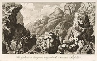 Engraving showing a mountainous landscape including a bridge over a waterfall, from ´The Natural History of Norway´ by Erich Pontoppidan (1698-1764), ...