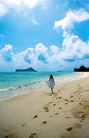Woman Walking On Beach, Oahu