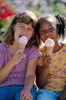Girls Eating Ice Cream Cones
