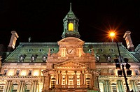 Montreal's City Hall (Hotel de Ville) at night. Quebec, Canada