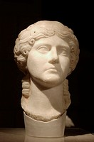 Roman bust from Segóbriga archeological site. Cuenca province, Spain
