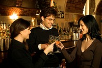 Three happy friends toast with white wine while standing in a bar