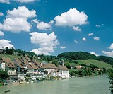 10652072, Old Town, view, village, Eglisau, river, flow, canton Zurich, view of a place, Rhine, river, flow, Switzerland, Euro