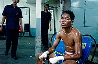 Fighter, Muay Thai (Thai Boxing), Lumpinee Stadium. Bangkok, Thailand