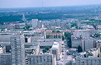 Aerial view of Warsaw from palace of culture and science (Palace Kulturi i Nuki). Warsaw. Poland