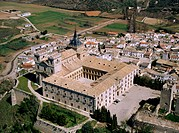 Aerial view of Ucles monastery. Cuenca province. Castilla-La Mancha. Spain