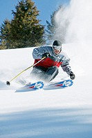 Man skiing in Sun Valley, Idaho. USA