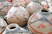 Painted pots in Taos, New Mexico. USA