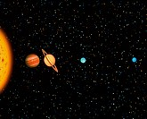 The outer Solar System. Computer composite image of the four ´gas giant´ planets of the outer solar system, shown in their relative sizes and (at a di...