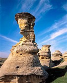 Hoodoos (mushroom shaped rock formations) in Drumheller Valley. Alberta. Canada