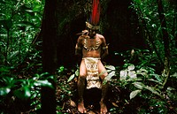 Mr. Hitoma, a Huitoto indian chief. Leticia, Amazon. Colombia
