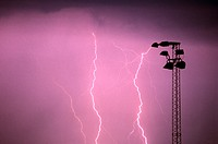 at night, flash, Flashes, mast, night, pole, thunderstorm, tower