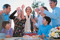 Family Outdoors Toasting at a Birthday Party