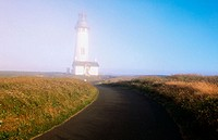 Fog. Yaquina Head lighthouse. Oregon coast. USA