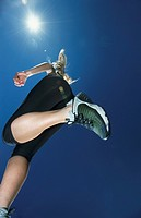 Low Angle View of a Woman Running