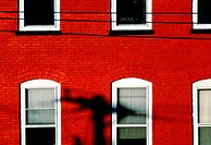 Red brick fa&#231;ade on Bloomfield Street. Hoboken, New Jersey. USA