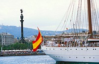 Juan Sebastián Elcano school-ship at port. Barcelona. Spain