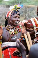 Samburu during ritual folk dance at village in Laikipia plateau, Mount Kenya area. Kenya