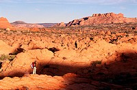 Hiking. Coyote Buttes, Paria Wilderness. Arizona. USA