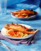 Baked red mullet with sage and oven-baked vegetables