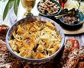 Lebanese baklava in a dish, sugar candy, pistachios