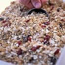 Hand with scoop in fruit muesli