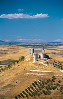 "Medieval castle (known as ""Castle of El Cid"") and dry farming fields. Jadraque. Guadalajara province, Spain"