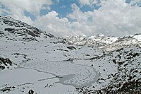 Snow covered lake, Nathula pass. India