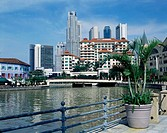 Clarke Quay on Singapore river and city skyline. Singapore